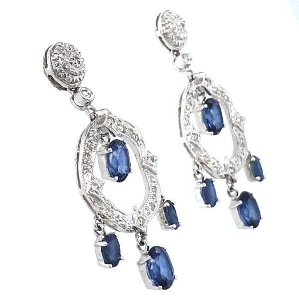 Blue Sapphire and Diamond Earrings.